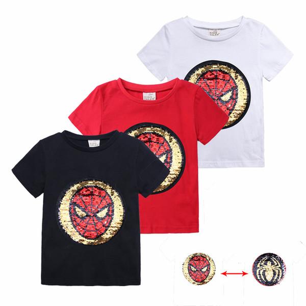 Estate Ragazzi Cartoon T-Shirt Bambini Magic Paillettes Reversibile Tshirt Bambini Ragazze Cotone Abbigliamento casual unisex Top MBT108