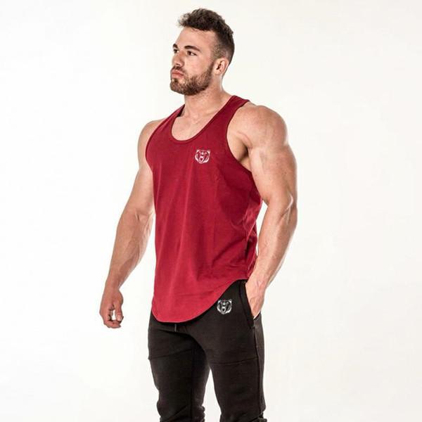 Yelek Üst Erkekler Fanila Yumuşak Yaz Kırmızı Kısa Kollu Pamuk Nefes Spor Koşu Fitness Salonu Egzersiz Rahat Şort T gömlek Tops