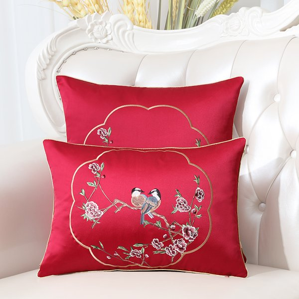 Pleasant New Embroidery Flower Birds Orchid Ethnic Cover Pillow Cushion Case Christmas Home Decor Chinese Sofa Chair Lumbar Pillow Cover Spotlight Outdoor Pdpeps Interior Chair Design Pdpepsorg