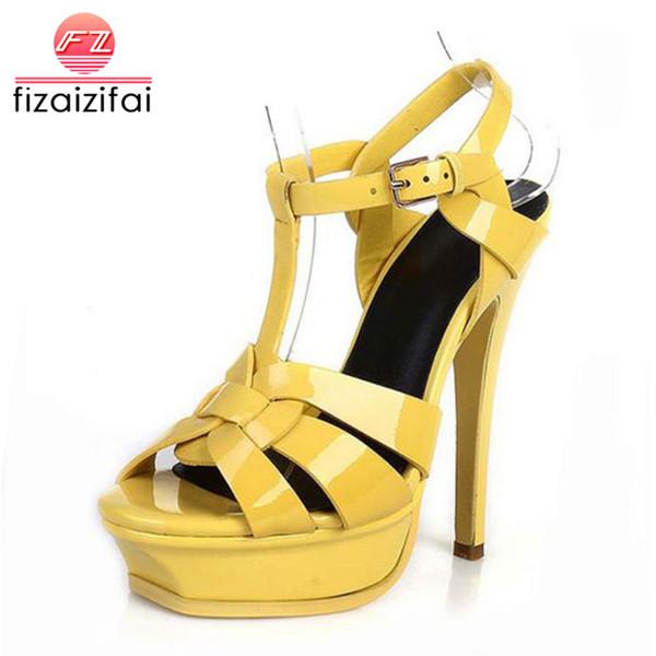 FizaiZifai ücretsiz kargo kalite hakiki deri yüksek topuk sandalet kadınlar seksi ayakkabı moda bayan ayakkabı R4425 sıcak satış 33-40
