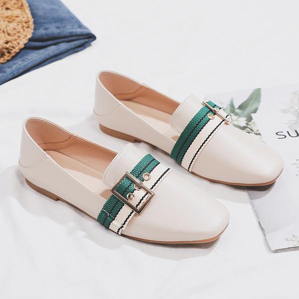 FS-10 quadratischen Kopf 2019 Frühjahr und Herbst neue Mode britischen Wind kleine Lederschuhe flache Erbsen einzelne Schuhe net rote Schuhe
