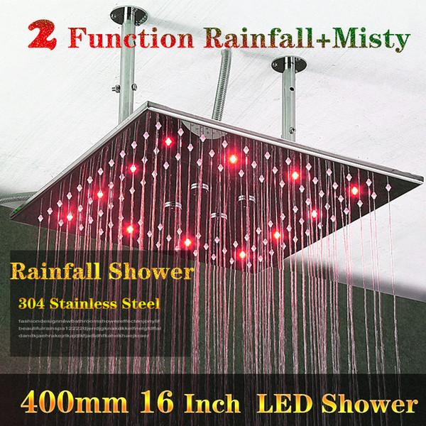 2 Funciones Baño Hydro Power LED Ducha de Lujo 400x400mm 304 Techo de Acero Inoxidable Big Rain Shower Head Con Brazos
