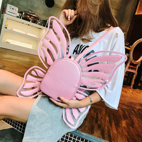 Cute Butterfly Backpacks Women Transparent Pu Leather Pink Schoolbags Teen Girls Travel Backpack Women Butterfly Bookbags Purses