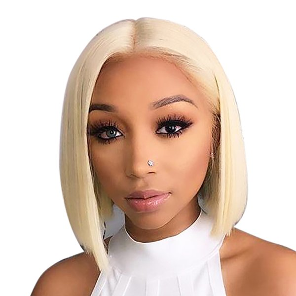 Short Blonde Human Hair Wig For Black Women Brazilian Virgin Remy Hair Straight Short Hairstyle Blonde Bob Lace Front Wig Pre Plucked Remy Hair For