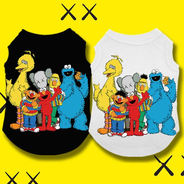 Wh Fation Pet Dog Clothes Sesame Street KAWS Summer Cotton Puppy T Shirt Clothing Dogs Chihuahua French Bulldog Shirt Vest Cat Costume Coat
