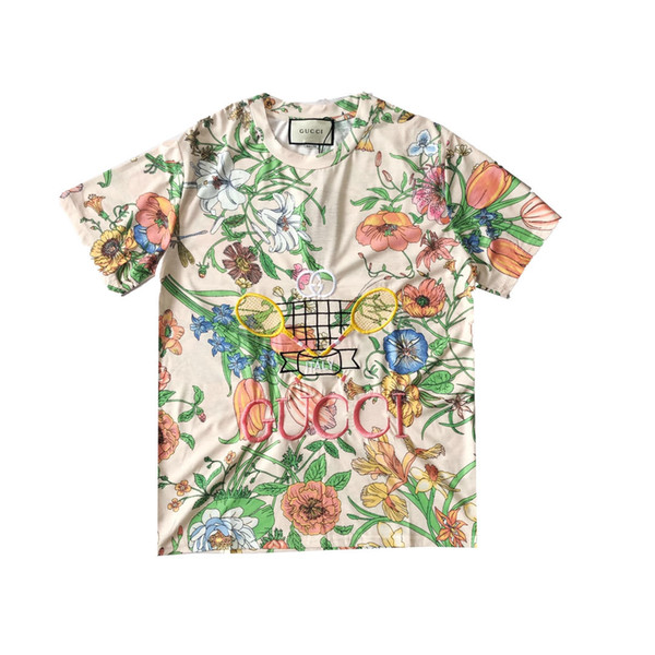 2019 Paris GUCHI coloured diamond Lovers Cotton Tshirts Pharrell short Sleeve Summer Tee Breathable Vest Shirt Streetwear Outdoor T-shirt