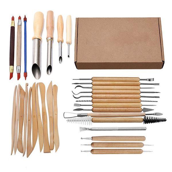 best selling 31Pcs Arts Crafts Clay Sculpting Tools Set Carving Tool Kit Pottery & Ceramics Wooden Handle Modeling Clay Tools