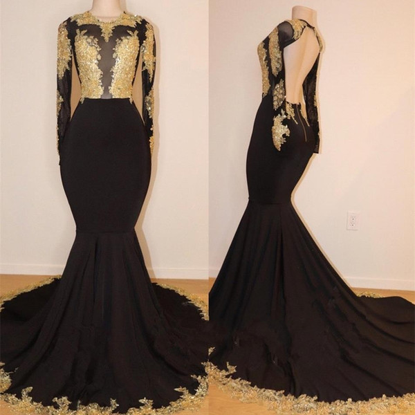 Real Photos 2019 Designer Black Mermaid Prom Dresses with Gold Lace Appliqued Sexy Backless Long Sleeves Evening Gowns Vestidos BC1255