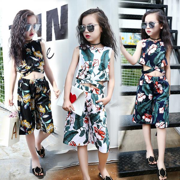 Girls Clothing Sets 2019 Formal Fashion Pattern Printing Tops and Shorts Kids Clothing Sets Children Clothing Kids Clothing Sets Children Clothing