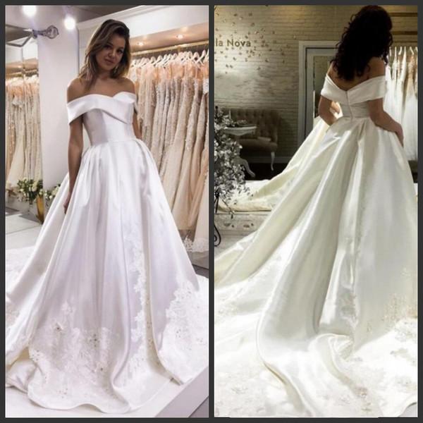 2019 robes de mariée vintage robes de mariée hors épaule sur mesure femmes robes en dentelle de satin appliques perles fermeture à glissière retour une robe de mariage en ligne