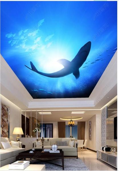 Papel de parede Custom 3D photo silk mural wallpaper Ocean World Shark Living Room Bedroom Ceiling Zending Mural Wall Sticker