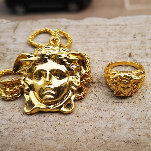 top popular 2019 New Fashion Punk Jewels Gold Hip Hop Necklace & Pendants Ring Bundle Set Hip Hop Jewelry For Men Women 2020