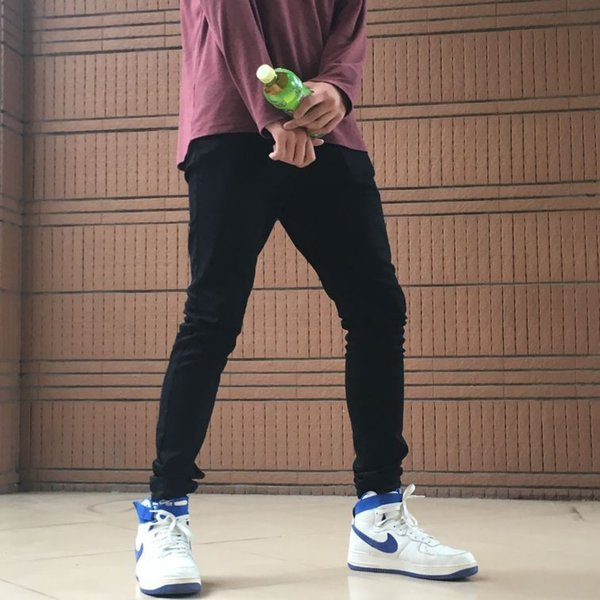 High Quality Men Solid Color Jeans Stretch Slim Skinny Denim Pants Streetwear Fashion Mens Jeans A10