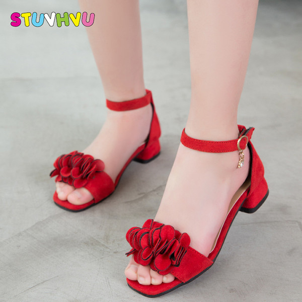 Children Princess Shoes Girls High Heels Sandals 2018 New Girls Sandals Summer Kids Shoes Elegant Princess Party Dance Sandals Y19051303