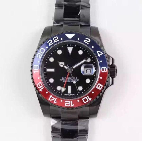 2018 top sale Rose gold GMT2 Listed V3 Version Batman mens watch automatic movement Ceramic Rotating Bezel sapphire glass steel str