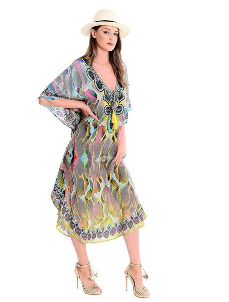 2019 Print Long Beach Kleid für Frauen Pareo De Plage Badeanzug-Vertuschung-Strand Sarongs Bademode Kaftan Coverups