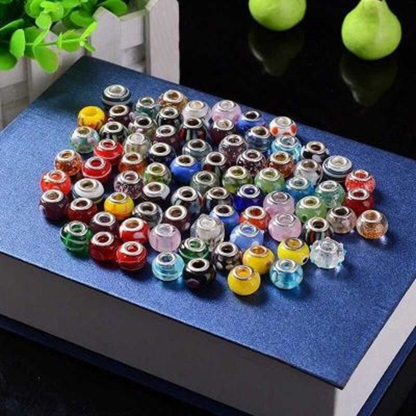 Lampwork Crystal Alloy Charm Loose Beads Mix Colors Glass Big Hole Beads European Style for Pando Bracelet Jewelry Accessories DHL FREE