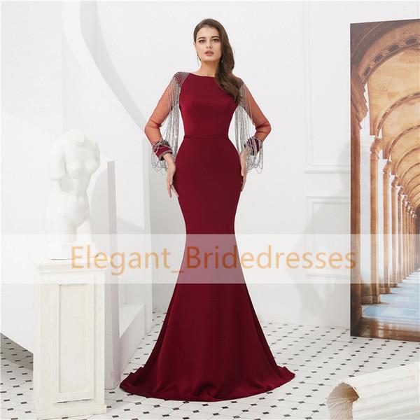 Vintage Dubai Burgundy Mermaid Evening Dresses Long Sleeve Tassel Evening Wear Gowns Arabian Elegant Prom Dress robe de soiree