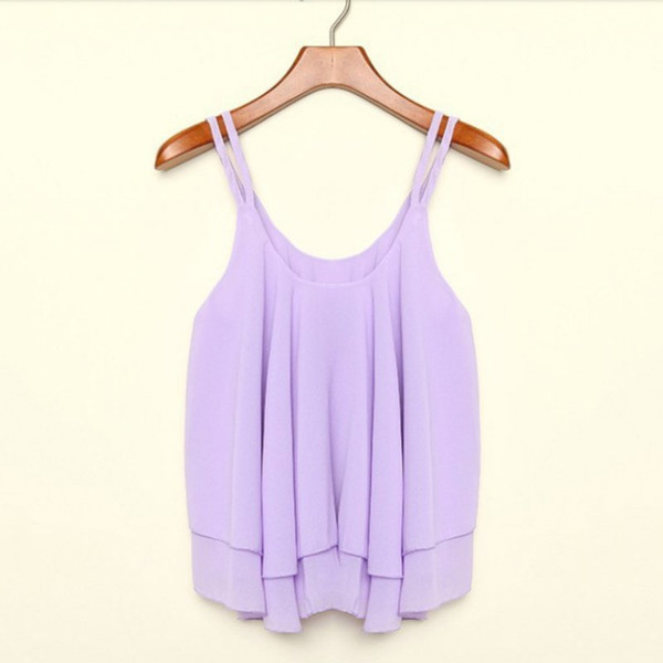 Women Casual Camis Summer Chiffon Tops Double Layer Sleeveless Loose Solid S M Xl Crop Top Woman Clothing P2 C19041601