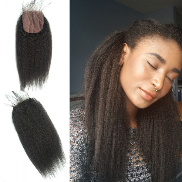 Best Selling Products 4x4 Kinky Straight Silk Base Closure Hidden Knots Natural Cuticle Hair Natural Black No Shedding