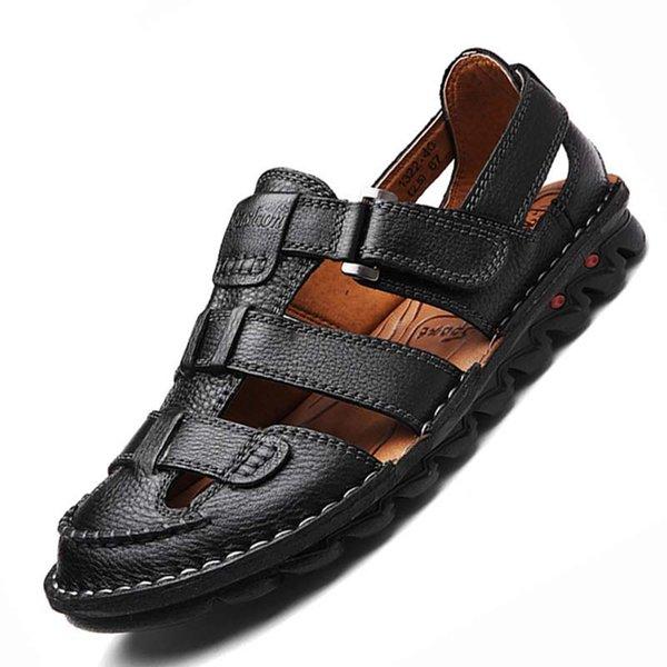 Yüksek Kaliteli Hakiki Inek Deri Sandalet Açık Yaz El Yapımı Erkekler terlik Ayakkabı Erkekler Plaj deri Yumuşak Nefes sneakers