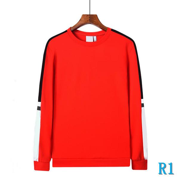 Diseñador sudaderas con capucha de manga larga hombres al por mayor para el otoño invierno de primera, con mezcla de algodón a cuadros Pullover Ropa Negro y Rojo S-3XLR1