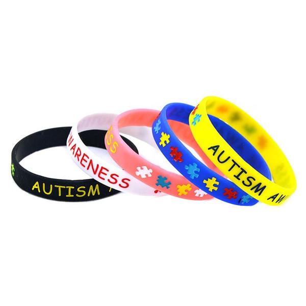 Autismo conciencia pulsera de silicona pulseras de goma rellenas de tinta pulseras de silicona pulseras para regalos accesorios de joyería MMA1626