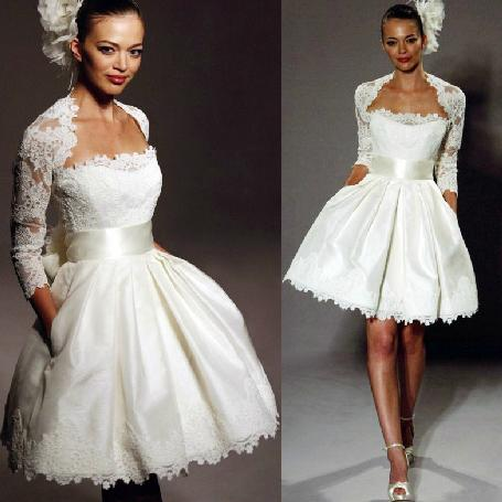 Vestido de noiva vintage com envoltório na altura do joelho Mini vestido de casamento curto A linha querida Neck Lace cetim curto país Vestidos de noiva personalizado