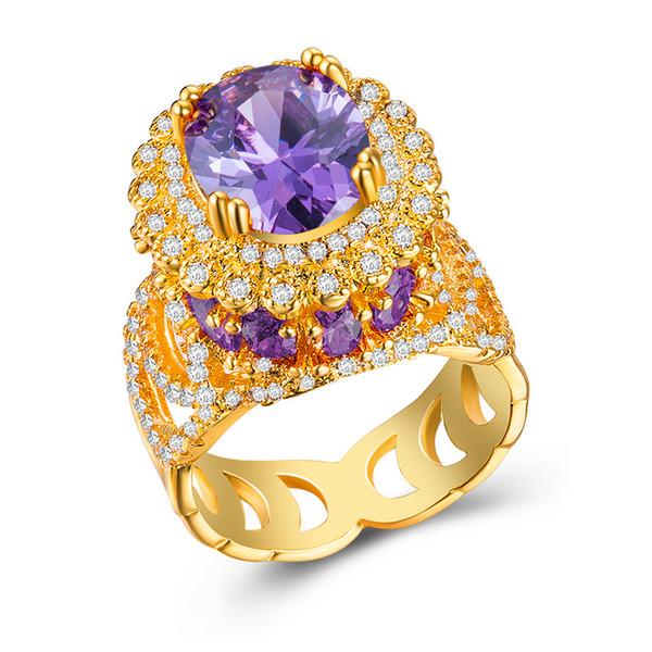 Anello di fidanzamento di lusso ovale Champagne Colorato CZ placcatura d'argento alla moda Lady Anelli romantico regalo della festa nuziale gioielli amante