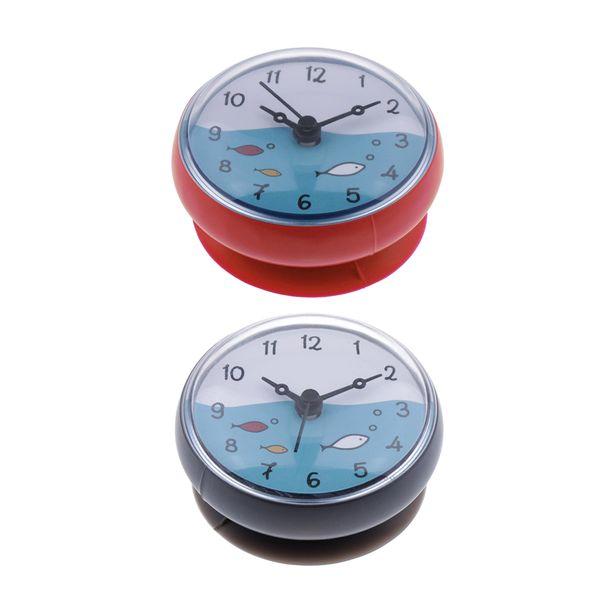 best selling 2Pcs Shower Bathroom Clock Waterproof Mini Bath Wall Clock Moistureproof