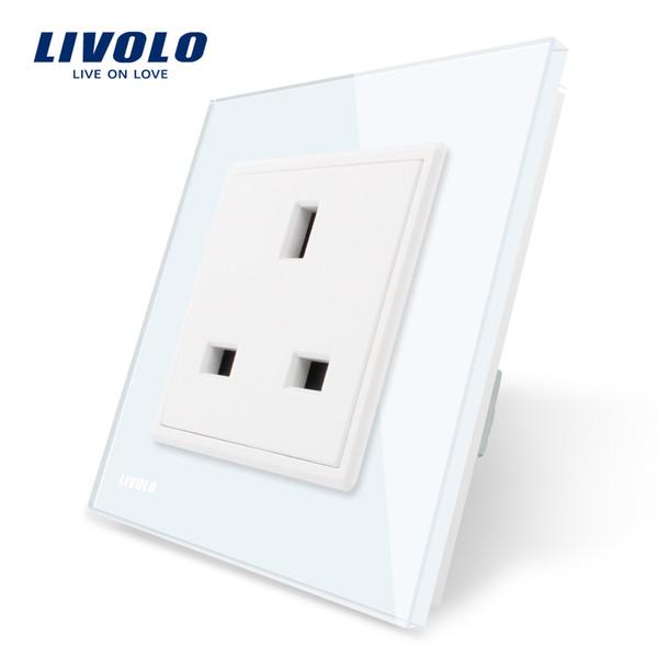 2020 Livolo EU Standard UK Socket, White/Black Crystal Glass Panel ...