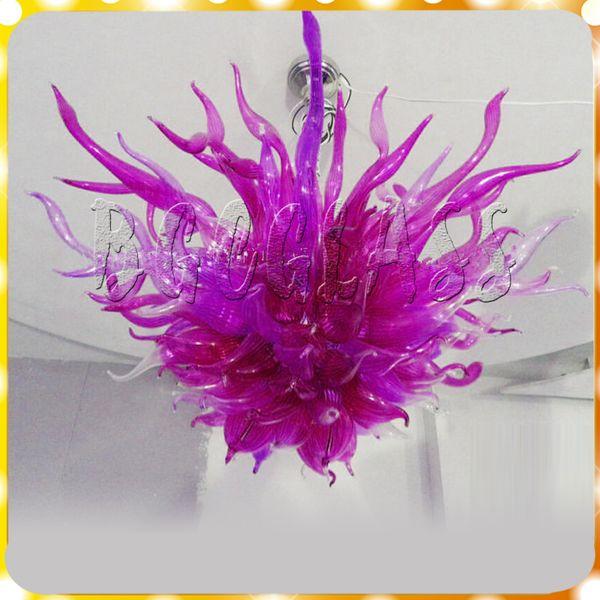 Luces colgantes de cristal soplado a mano de color púrpura moderno estilo europeo de cristal LED araña de luz Luz de techo de cristal moderna para la decoración interior