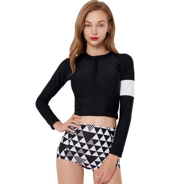 2019 Fashion 2pcs Swimming Outfit for Women Long Sleeve Shirts Tops Shorts Bikini Set Slim Surfing Swimwear Swim Bathing Suit