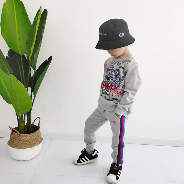 Enfants Vêtements Ensemble 2019 Automne Hiver Filles Enfants Chaud Survêtement garçons Coton Épais Chemise + Pantalon 2 pcs Costume