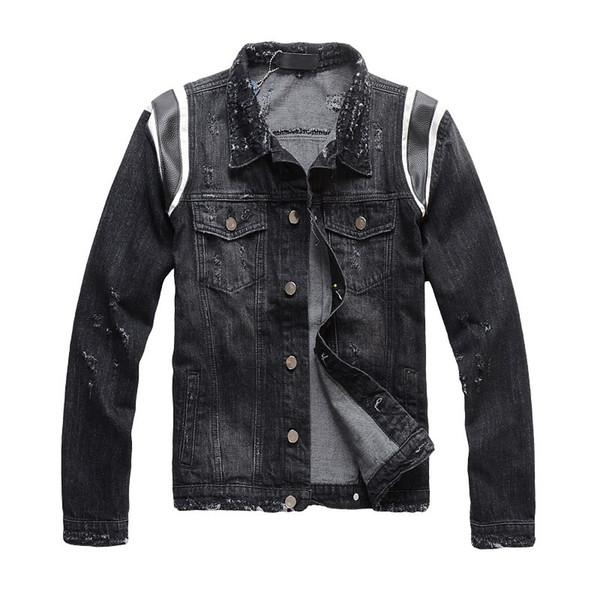 Veste en Jean Motorbike Jean Manteau Vestes Homme Jean Vêtements Slim Fit Hip Hop Punk Streetwear Veste en Jean Street