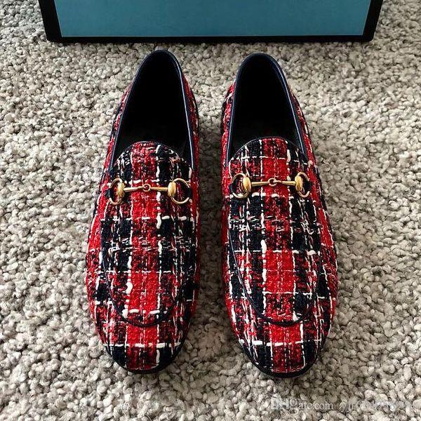 Mezcla y combinación de alta calidad diseño italiano vestido a cuadros banquete de bodas zapatos para hombre moda Lok Fu zapatos talón con caja original qe