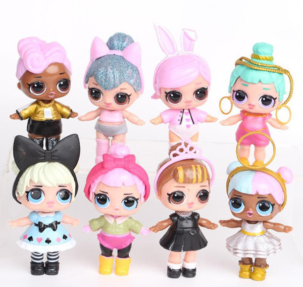 8Pcs/lot 9CM LoL Doll with feeding bottle American PVC Kawaii Children Toys Anime Action Figures Realistic Reborn Dolls for girls