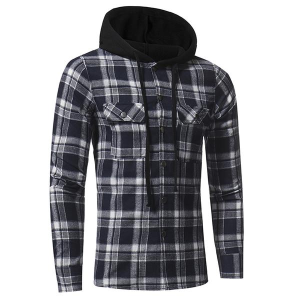 Camisas de vestir para hombres Camisas casuales para hombres Camisas a cuadros Camisas de un solo pecho con capucha Otoño Primavera Tops de manga larga