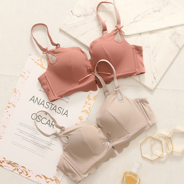 Seamless Bra Sets fashion Wireless Push Up 3/4 Cup Soft Bra with Removable Straps thin thick Bra and Panties Set Women Lingerie