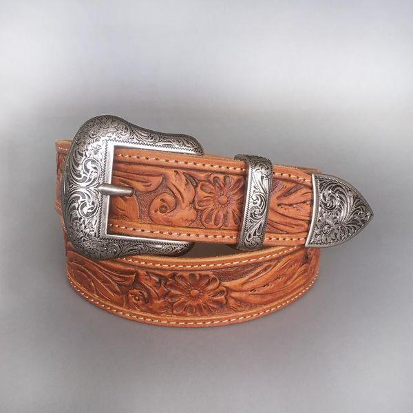 Venta al por mayor al por menor nueva Vintage Pin cinturón hebilla a mano vaquero Cowgirl Western cuero genuino cinturón