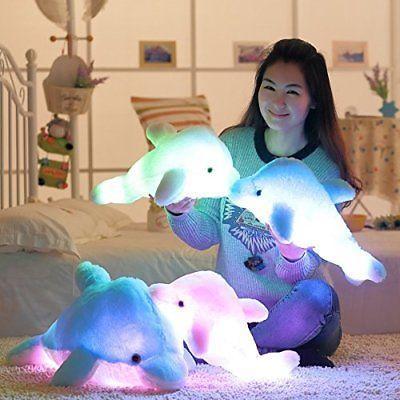 LED Plüsch Delfin Kuscheltier Blau Rosa Weiß Leuchten Kinder Spielzeug 18