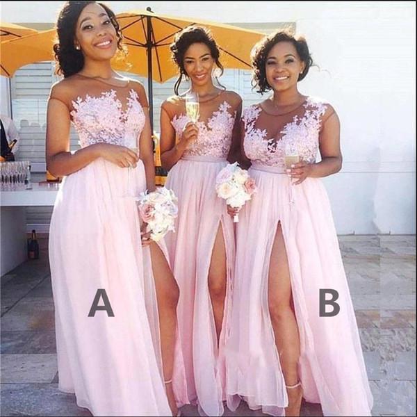 Schöne Spitze Chiffon Brautjungfernkleider Südafrika Plus Size Side Split Abendkleider Sexy Trauzeugin Kleid