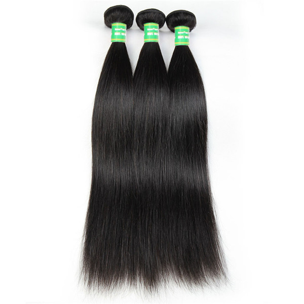 Straight Hair 8A Human Remy Hair Bundles With Closure Tissage Brazilian Straight Virgin Hair Vendors Cuticle Aligned 8-28 Inches Black 3pcs