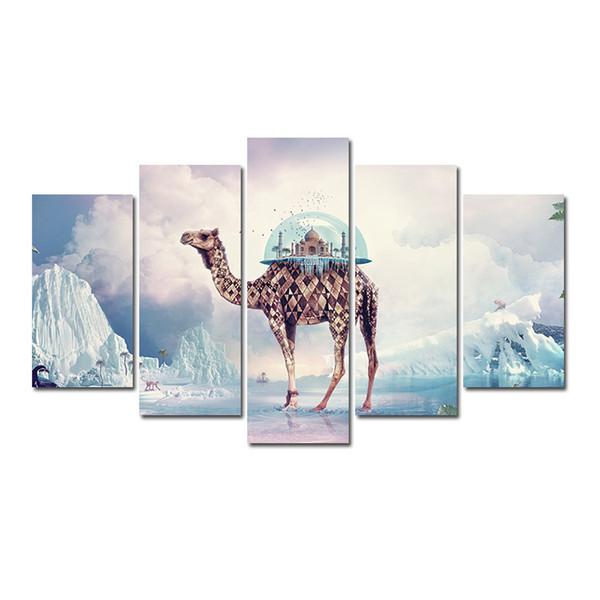 5 pezzi Combinazioni HD Fantasy City on the Camels Pattern Senza cornice Tela Pittura Decorazione murale Poster Stampato Pittura a olio