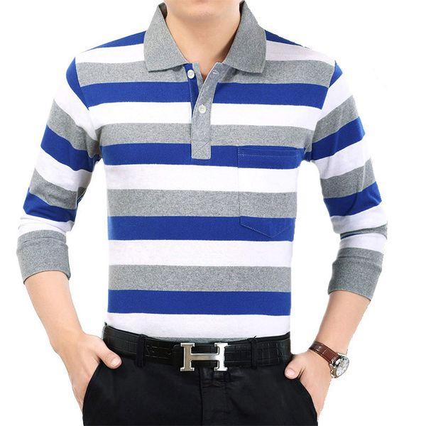 WOQN Polo Shirt Men 2018 Spring Polo Men Shirts Striped Slim Fashion Cotton Long Sleeve Male Polo Shirts Men Clothes Tops Tees