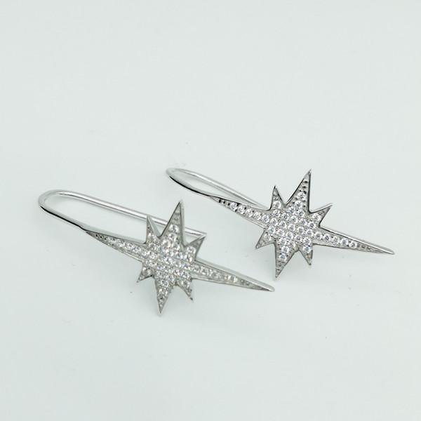 Kübik Zirkonya Bırak Dangle Küpe 100% Ayar Gümüş 925 Takı Kızlar için Yüksek Kalite Hediye Trendy Küpe Hediye Toptan 5 adet / grup