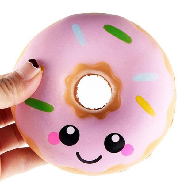 Fidget PU Squishy Doughnut Slow Rising Decompression Toys Jumbo Food Bread Cake For Kids Adults Blue Pink Stress Relief Donut