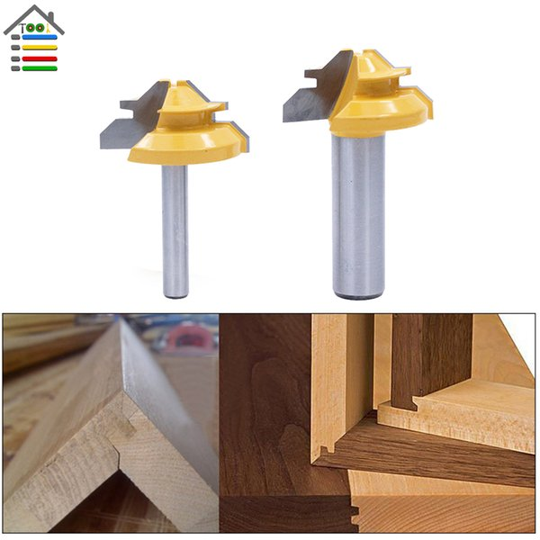 """Milling Cutter Lock Miter Router Bits 45 Degree 1/4 1/2\"""" Shank Drill Bit Tenon Cutter Milling Cutters Woodworking Joint CNC Tools"""
