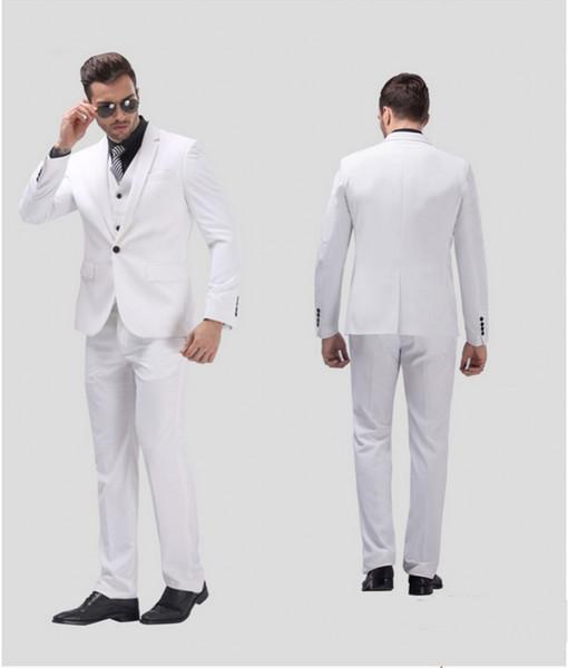 White Groom Tuxedos Notch Lapel Center Vent Men Wedding Dress Excellent Men Business Dinner Prom Blazer 3 Piece Suit(Jacket+Pants+Tie+Vest)6