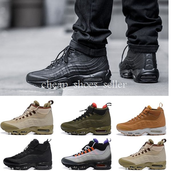 73ee0159c1 2018 2019 Brand Air Men Casual Running Shoes 95 Waterproof Boots 95s  Sneakerboot High Top Designer Trainers Ankle Sports Mens Maxes Sneakers 7  12 From ...